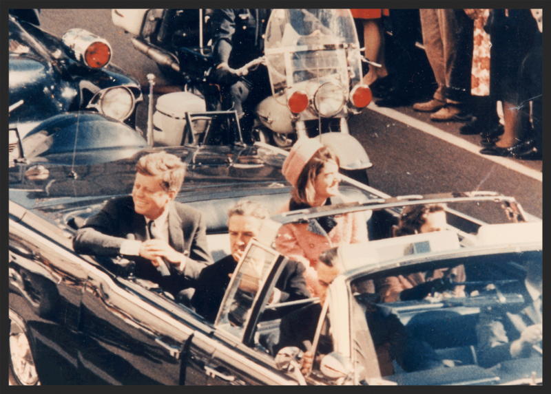 John F. Kennedy at Dealey Plaza in Dallas Texas on November 22, 1963.