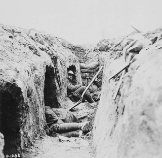 "A trench on the Canadian front showing ""funk holes"""