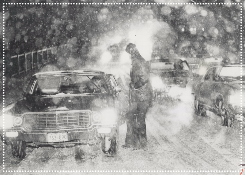 Link to TPL Archives of photograph of surprise snow storm has evening rush-hour traffic in a snarl at Highway 10 and Steeles Avenue in Brampton