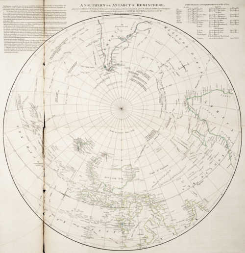 A Southern or Antarctic Hemisphere map by Robert Sayer in 1732 on tpl.ca