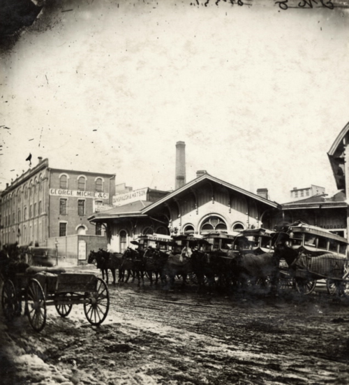Great Western Railway Station; Freight Offices Yonge Street, east side, north of Esplanade East in 1873 from the TPL Digital Archive