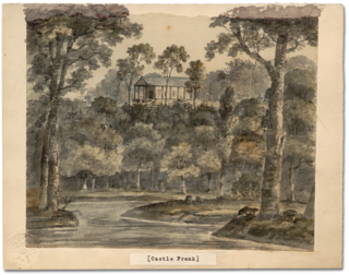 Elizabeth Simcoe Watercolour: Castle Frank, 1796 in Archives of Ontario