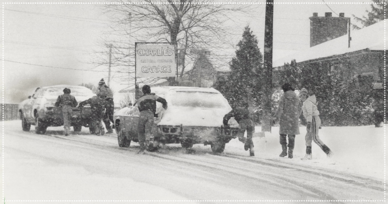 Newmarket Donell School Students push car in 1982