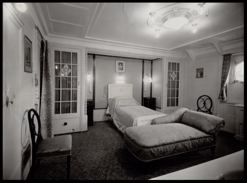 Queenly comfort - This is the tastefully appointed bedroom of the Queen's suite aboard the Empress of Australia