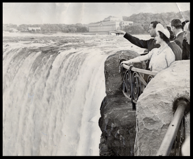 King George and Queen Elizabeth stood to admire the thundering majesty of Niagara Falls